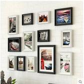 歐式風格牆上相框組合創意 實木創意客廳小牆面掛牆相框照片牆(黑色 白色 建築風景畫心)