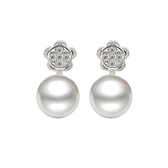 耳環 925純銀鑲鑽-珍珠花卉生日情人節禮物女飾品73dm210【時尚巴黎】