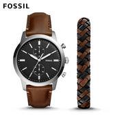 ↖400折價券 現領現折↘ FOSSIL Townsman 溫暖假期咖啡色皮革手錶及皮革手環套組 男