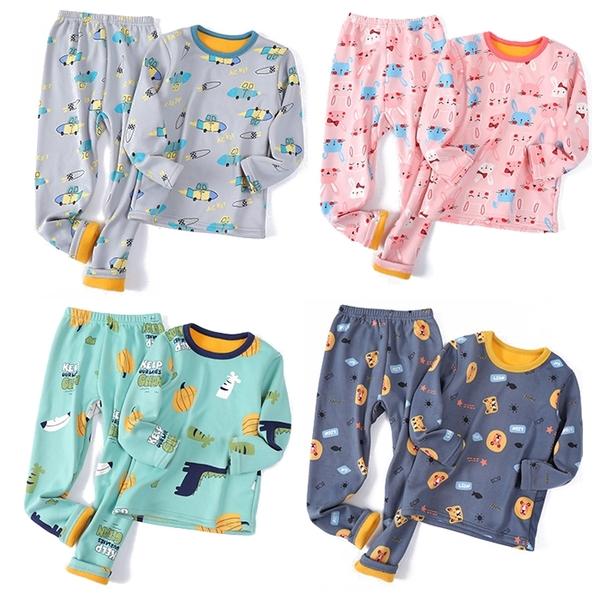 中大童長袖套裝 刷毛家居服 滿版卡通 加絨保暖內衣套裝 長袖上衣 棉質長褲 睡衣 ZS10907 童裝