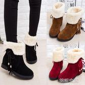 秋冬雪地靴女短靴女鞋防滑平底加絨加厚短筒靴保暖兩穿棉鞋女靴子