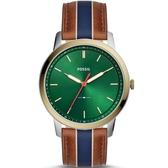 【台南 時代鐘錶 FOSSIL】FS5550 極簡主義 金屬色彩大三針簡約風格手錶 皮帶 綠 44mm