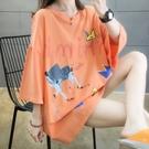 上衣寬鬆學院風M-2XL日韓前後印花中長款短袖T恤NE416.7906胖胖唯依