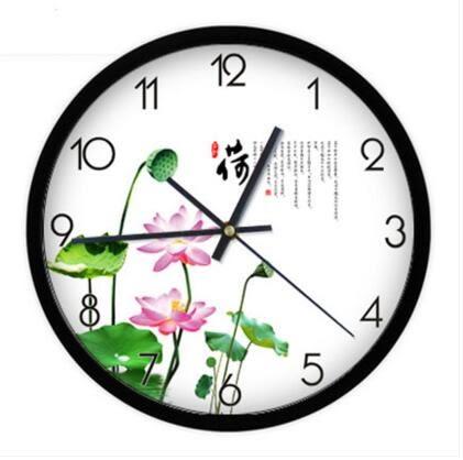 雅刻麗掛鐘客廳現代簡約創意時尚時鐘靜音石英鐘荷花清新淡雅鐘錶(12英吋)