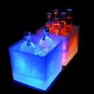 酒吧防摔方形雙層塑膠香檳桶七彩發光小號裝冰塊粒酒桶洋酒啤酒桶 夢幻小鎮「快速出貨」