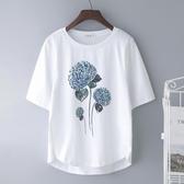 新款純棉中袖T恤女短袖白色寬鬆半袖大碼中年媽媽夏裝洋氣上衣服