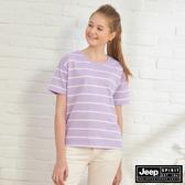 【JEEP】女裝 經典條紋短袖TEE-薰衣草紫
