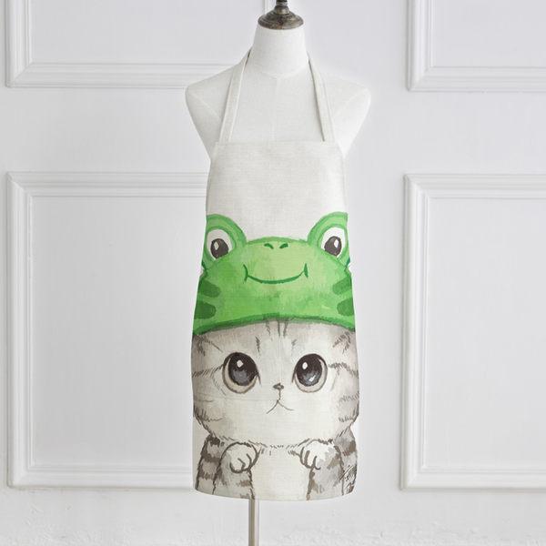 圍裙 - 圍裙可愛萌貓情侶無袖布藝廚房烘焙廚師罩衣【快速出貨八折搶購】