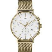 TIMEX 天美時(TXTW2R27200) 三眼 計時 米蘭帶 錶/金/41mm
