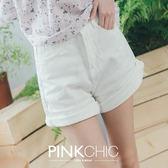 短褲 捲邊顯瘦牛仔丹寧短褲 - PINK CHIC - 22614