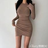 緊身洋裝 韓國女裝2021秋季新款緊身褶皺長袖連身裙修身顯瘦性感包臀短裙潮 榮耀