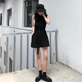 原宿風褲子女ins超火工裝連身褲2021年春季套裝短褲女夏韓版寬鬆 米娜小鋪