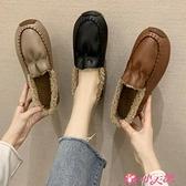 樂福鞋 毛毛鞋女冬加絨棉鞋保暖2021新款一腳蹬樂福鞋英倫小皮鞋女豆豆鞋 小天使