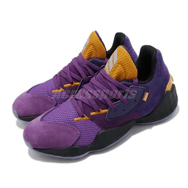 adidas 籃球鞋 Harden Vol.4 GCA Su Casa Lakers 紫 黃 男鞋 運動鞋 【ACS】 FW7496