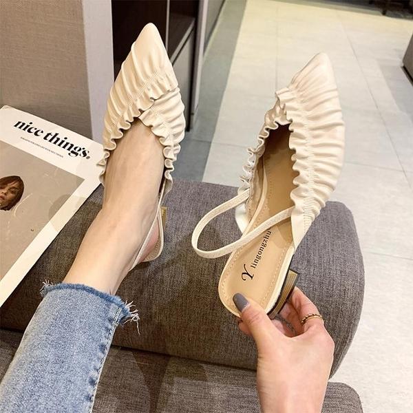 包頭涼鞋2021新款春季百搭淺口尖頭單鞋名媛風簡約奶奶鞋粗跟女鞋 童趣屋 618狂歡