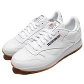 Reebok 復古慢跑鞋 CL LTHR Classic Leather 白 全白 膠底 皮革 男鞋【PUMP306】 49799