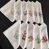全棉手絹刺繡花手帕