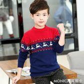 童裝男童毛衣套頭中大童線衣純棉加厚加絨韓版兒童針織衫   美斯特精品