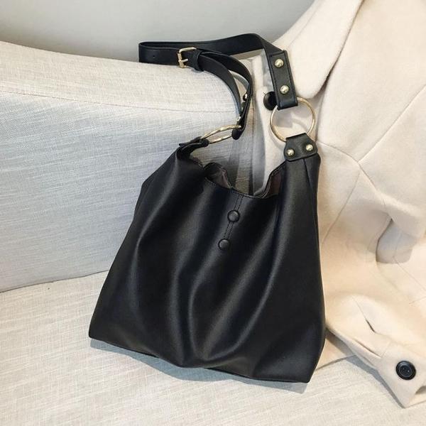新款潮韓版大容量托特包ins大包包港風復古高級感側背斜背包