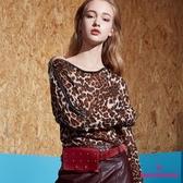【SHOWCASE】拉鍊造型領微透膚豹紋薄針織上衣(咖色)