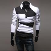 長袖polo衫正韓長袖潮流拼色修身POlO衫時尚打底衫【快速出貨好康八折】