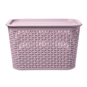 HOLA 米勒附蓋編織紋收納籃L 藕粉