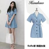 棉麻條紋洋裝女2020夏季韓國新款西裝領單排扣學生收腰氣質短裙 滿天星