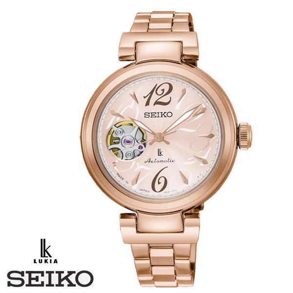 SEIKO LUKIA 浪漫花語數字全玫瑰金粉面鋼帶機械錶 4R38-01L0V SSA804J1 公司貨 名人鐘錶高雄門市