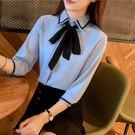 Qmigirl 韓版刺繡蝴蝶結七分袖襯衫設計感小眾雪紡上衣女【T1743】