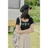 女性短袖針織上衣 棉麻T恤女新款韓版學生修身方領 珍妮寶貝
