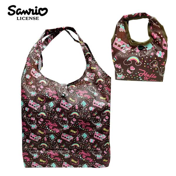 咖啡色款【日本正版】凱蒂貓 摺疊 購物袋 環保袋 手提袋 防潑水 Hello Kitty 三麗鷗 Sanrio - 466930