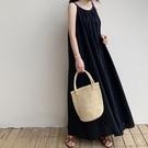 棉麻洋裝 日系度假風寬鬆顯瘦褶皺無袖連身長裙 花漾小姐【預購】