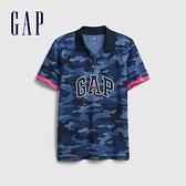 Gap男童 Logo紮染透氣POLO衫 682079-藍色迷彩