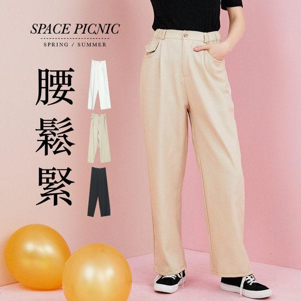 長褲 Space Picnic 現+預.琥珀釦雙口袋直筒長褲【C19031090】