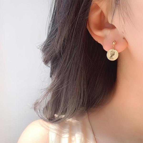 316L醫療鋼 人像硬幣 垂墜耳環耳釘針-金 防抗過敏