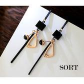 耳環 時尚氣質日韓系多元素黑色幾何綜合造型垂墜式耳環【1DDE0243】