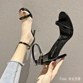 搭配裙子 一字扣帶涼鞋2020新款夏季百搭高跟鞋細跟黑色女鞋仙女風 DR35007【Pink 中大尺碼】