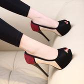 高跟鞋 超高跟鞋12cm細跟夜場防水臺性感拼色職業少女魚嘴單鞋女   琉璃美衣