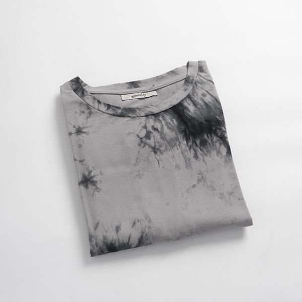 Queen Shop【01085395】個性渲染棉質圓領長洋裝*現+預*