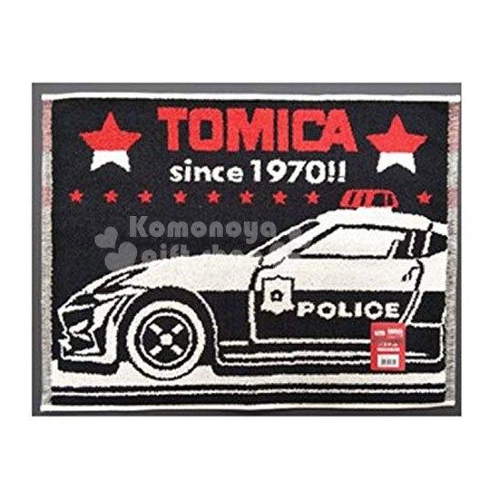 〔小禮堂〕TOMICA小汽車 毛巾腳踏墊《黑紅.警車》45X60cm.浴墊.地墊 4548266-41874