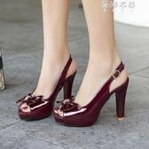 甜美蝴蝶結後空帶粗跟高跟厚底魚嘴涼鞋女鞋酒紅色黑色 蓓娜衣都