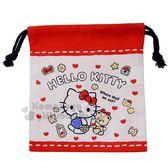 〔小禮堂〕Hello Kitty 日製棉質束口袋《XS.紅白.提籃子》縮口袋.收納袋 4513266-21317