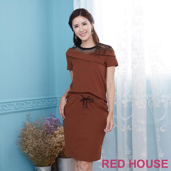 Red House 蕾赫斯-透膚網紗拼接休閒套裝(共3色)