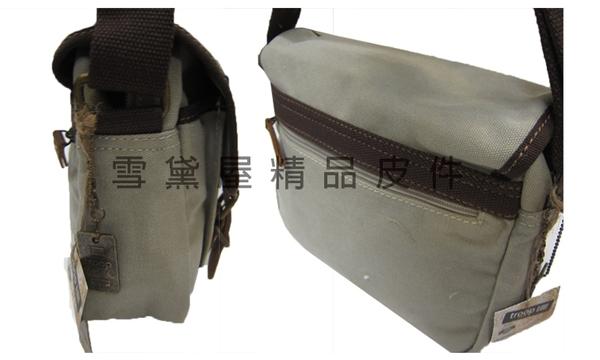 ~雪黛屋~troop 肩側包超中容量主袋+外袋共三層經典100%純棉加強防水帆布+牛皮革中性款STRP0412