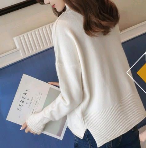 EASON SHOP(GU4661)側開衩小高領前短後長圓領長袖坑條針織衫毛衣女上衣服素色韓版彈力貼身內搭衫