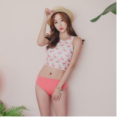 JE 粉色天鵝兩件式 泳裝溫泉泳衣比基尼 【553A】