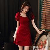 敬酒服新娘夏訂婚洋裝酒紅色小個子禮服裙短款回門衣服平時可穿ATF「錢夫人小鋪」