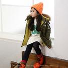 【大童】韓版男女童外套。ROUROU童裝。冬款男女童大中小童軍綠色加厚羊羔毛貼標外套 0343-121