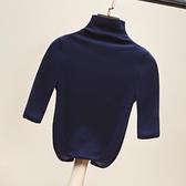 針織半高領五分袖打底衫中袖t恤女秋裝新款秋冬薄款短袖上衣 新年钜惠