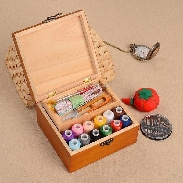 百寶箱實木針線盒復古風針線套裝縫紉手縫線家用收納針線包工具 k-shoes